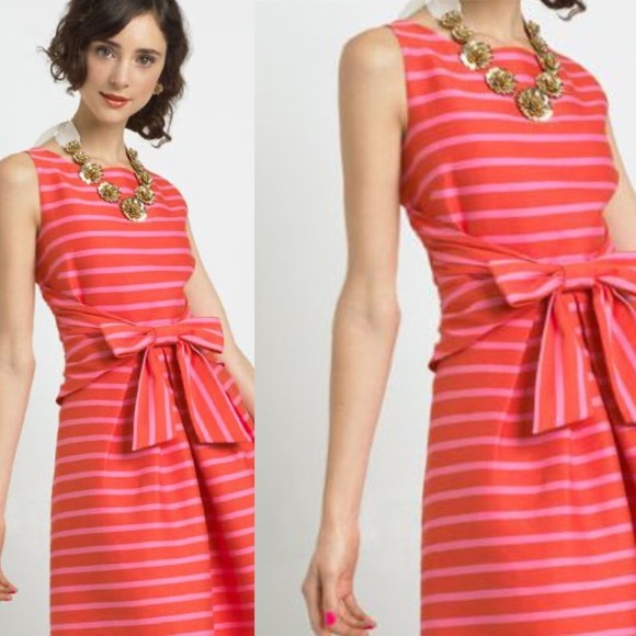 Kate Spade Front Bow Striped Sleeveless Dress
